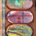 Abstract Serving Tray - Resin with Oval Wooden Base
