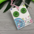 Lime Green - Button Fusion Necklace - Button Jewellery - Earrings