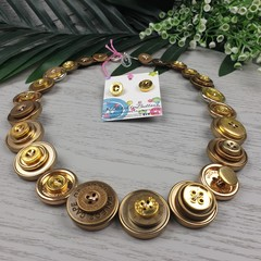 Aztec Gold- Button Necklace - Button Earrings