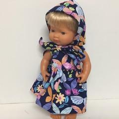 Miniland Dolls Bonnet  Dress to fit 38cm Dolls