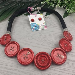 Ruby Red Slippers - Twist - Button Fusion Necklace - Button Jewellery - Earrings