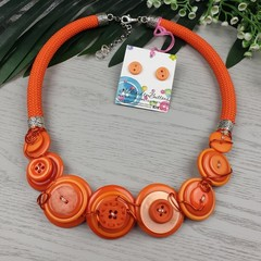 Orange Rock - Button Fusion Necklace - Button Jewellery - Earrings