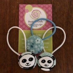 Panda trio hair ties