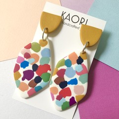 Polymer clay earrings, statement earrings in painterly coloursplash