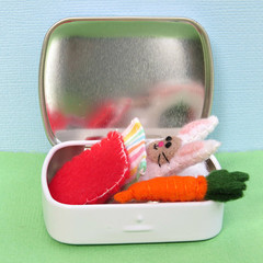 Mini Felt Bunny in a tin bed - Tiny white Rabbit with carrot - Easter