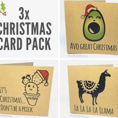 3x Funny Christmas Cards (puns / bin chickens / llama /cactus) FREE AUS SHIPPING