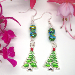 Handcrafted Sterling Silver Drop Christmas Earrings with Christmas Tree Pendant