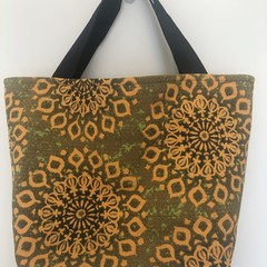 Shopping or general-purpose tote bag – retro stylised flowers print 2