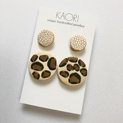 2 pack of Polymer clay stud earrings in leopard