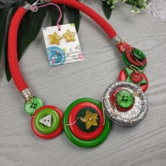 Christmas Sparkle - Button Fusion Necklace - Button Jewellery - Earrings