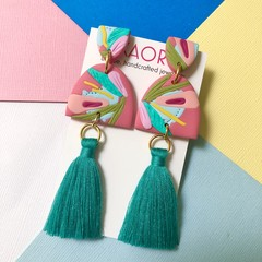 Polymer clay earrings, tassel statement earrings in guava pink floral