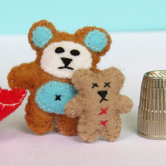 Miniature Teddy in a tin bed - Brown felt teddy with a tiny teddy