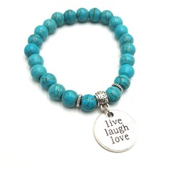 Live, laugh, love Turquoise beaded charm bracelet