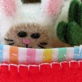 Miniature felt bunny play set, tiny rabbit in a tin bed, animal bed, Easter