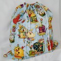 Large Drawstring Bag - Teapots and Birdhouses Design