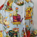 Large Drawstring Bag - Teapots and Birdhouses Design