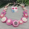 Stripes - Pink and White - Button Necklace - Button Earrings