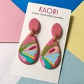 Polymer clay earrings, statement earrings in guava pink floral