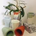Marbled Coloured Concrete Vases/planters
