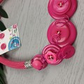 Pretty in Pink - Button Fusion Necklace - Button Jewellery - Earrings