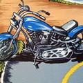 Large Drawstring Bag - Motorcycle City Design