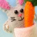 Rabbit with a Carrot - miniature felt bunny vegetable - Easter Softie