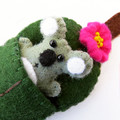 Koala in a Gum leaf Bed, Wool Felt miniature, animal bed play set, Australia