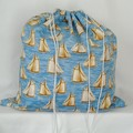 Large Drawstring Bag - Sailboats Design