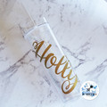 Personalised Skinny Drink Tumbler Acrylic Double Wall Drink Cup Straw Reusable