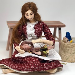 The Dollmaker, art doll, cloth doll, rustic decor, crafters gift