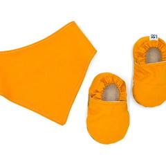 Butterscotch Baby Soft Sole Baby Shoes and Bandana Bib Set