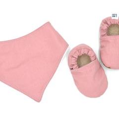 Dusty Rose Baby Soft Sole Baby Shoes and Bandana Bib Set