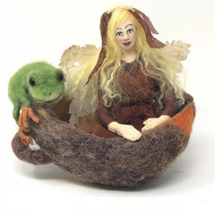 Fairy art doll, needle felted frog, wet felt sculpture, wall art