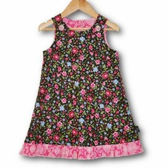 Size 1 black floral Aline pinafore DRESS - FREE POST