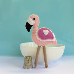 Pink Flamingo Bird - Wool Felt Magnet