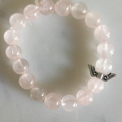 Natural Rose Quartz Gemstone Beaded Bracelet with Angel Wings