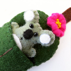 Koala and Gum leaf - Felt miniature - Australian Animal Toy in bed