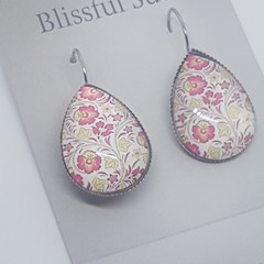 Silver Colour Teardrop Red & Yellow Flower Hook Earrings (Item # 14)