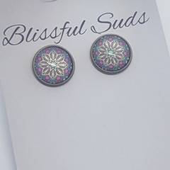 12mm  Bronze Rim Glass Insert Pink Dot and Tan Star Stud Earrings (Item #21)