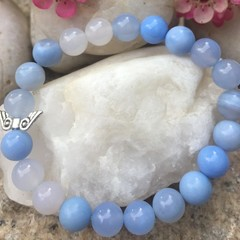 Natural Blue Agate Gemstone Beaded Bracelet with Silver Angel Wings