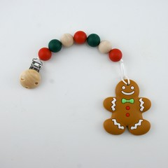 Silicone Gingerbread Christmas Dummy Chain with Teether
