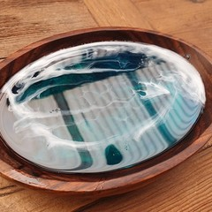 Resin Ocean Dish- (Jewelry Dish, Crystal/ Gem Holder, Trinket Dish, Ring Dish)