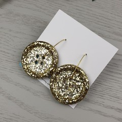 Sparkly Gold Glitter - Button Hoop Dangle earrings