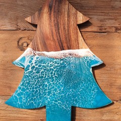 CHRISTMAS TREE SERVING BOARD - Ocean