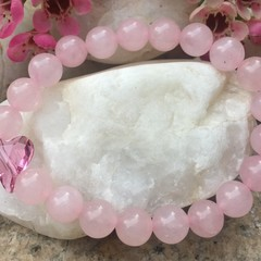 Natural Rose Quartz Gemstone Beaded Bracelet with Swarovski Wild Heart Bead