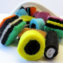 Pattern - Liquorice Allsorts - Felt play food - Licorice lollies candy sweets