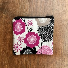White and Purple Floral Coin Purse