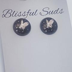 12mm Gun Black Rim Glass Insert Black & White Butterfly Stud Earrings (Item #13)