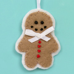 Gingerbread Man - Felt Christmas Ornament Decoration