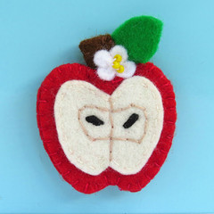 Wool Felt Red Apple - Brooch or Magnet